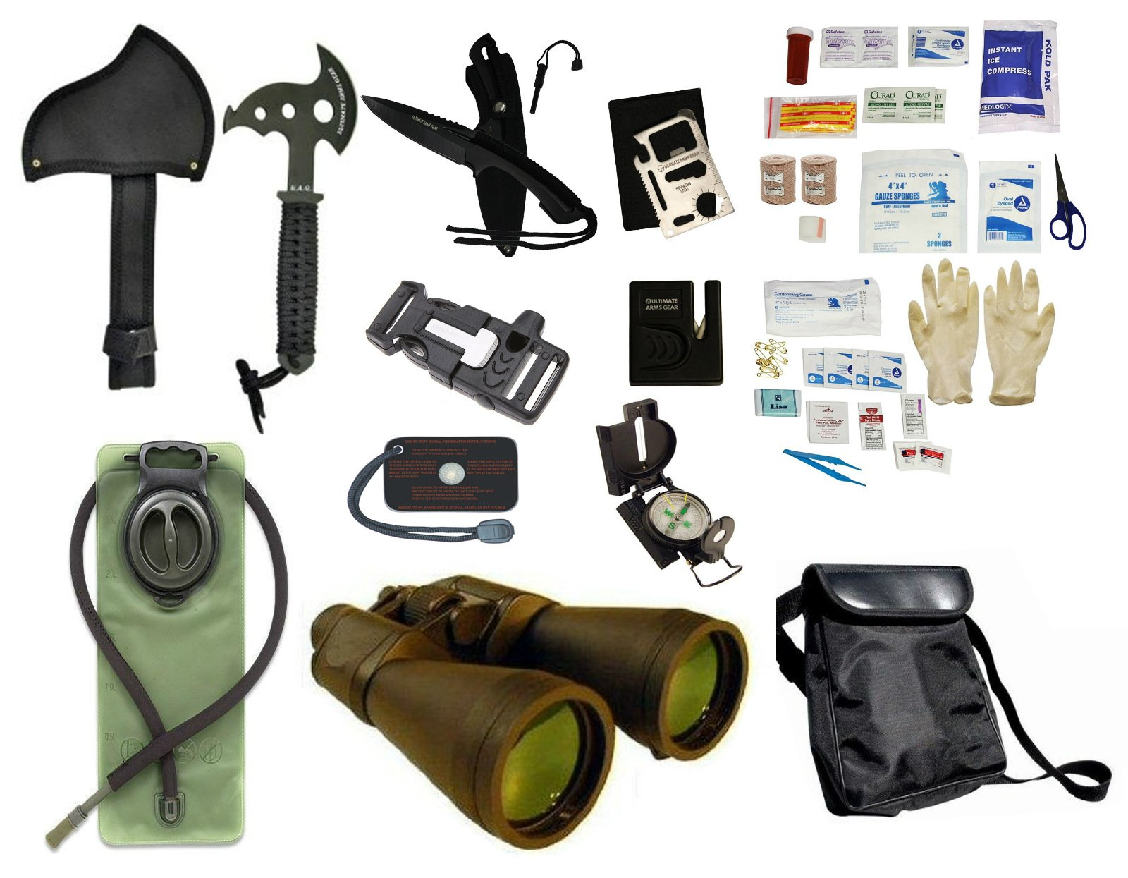 Survival Camping Hiking Kit: Emergency First Aid, 20X70 Binoculars Green,Sharpener, Axe, Fire Starter Blade, Whistle Flint Striker Belt Buckle, Hydration Bladder, Multi Tool, Compass, Signal Mirror