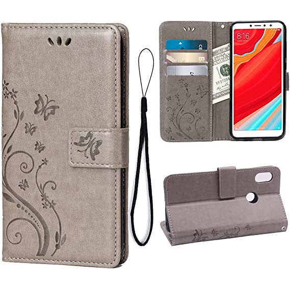 Teebo Wallet Case for Xiaomi Redmi S2/Redmi Y2, 3 Card Holder Embossed  Butterfly Flower PU Leather Magnetic Flip Cover for Xiaomi Redmi S2/Redmi