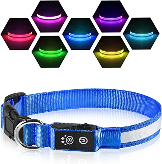 LED Dog Collars - 7 Colors Changeable Pet Collar - Waterproof with Rechargeable Light Up Collar, Makes Your Puppy Seen & Safe, Basic Dog Collars