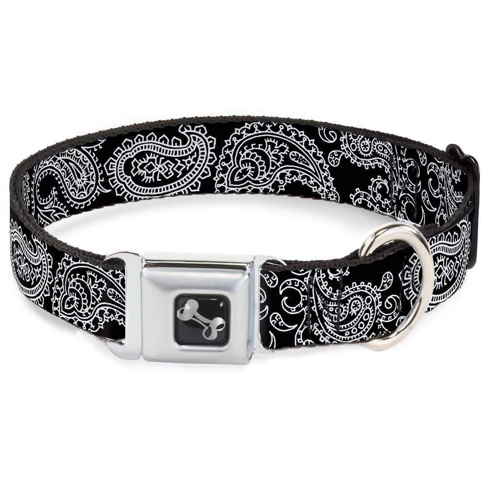 Paisley2 Black White 1\ Paisley2 Black White 1\ Buckle-Down Seatbelt Buckle Dog Collar Paisley2 Black White 1  Wide Fits 9-15  Neck Small