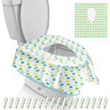 Gimars Disposable Travel Toilet Seat Covers Extra Large, Individually Wrapped Waterproof Potty Shields, Non Slip Toddler Potty Training Seat Covers for Kids and Adults, Green Dots Design, 18 Pack