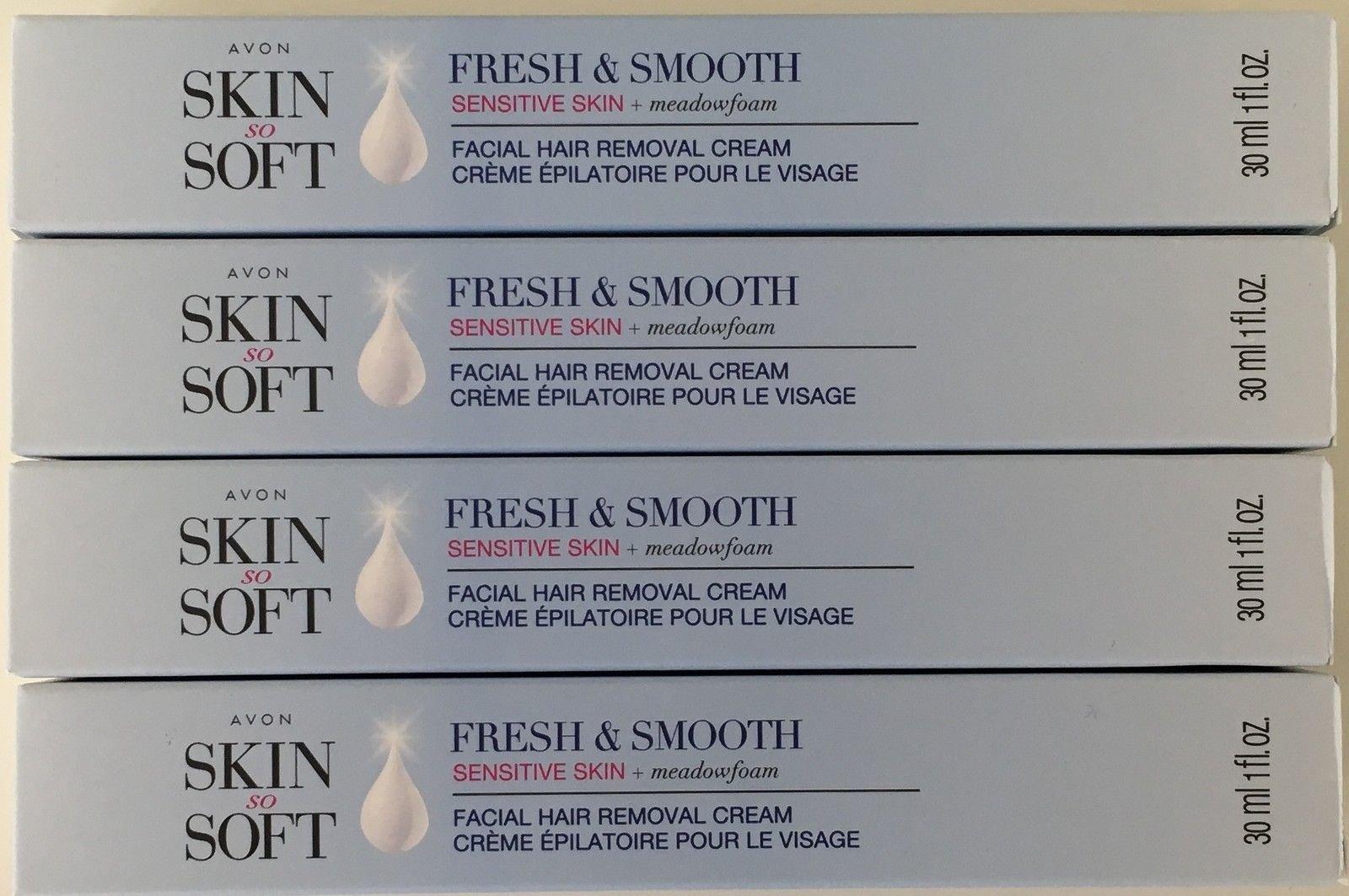 Avon Skin so Soft Fresh & Smooth Sensitive Skin Facial Hair Removal Cream 1 oz Each. A Lot of 4 by Skin so soft (Image #1)
