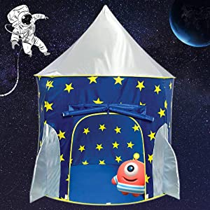 Magictent Rocket Ship Play Tent for Boys,Kids Spaceship Toys,Astronaut Space Ship Tents for Children's House,Foldable Gifts Playhouse for Indoor Outdoor Fun Games
