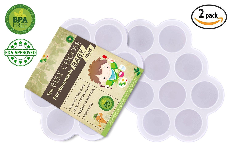 (Juego de 2) Bandeja de comida para bebés de silicona con tapa - Contenedores de platos reutilizables Comida para DIY - Vegetales, purés de fruta, ...