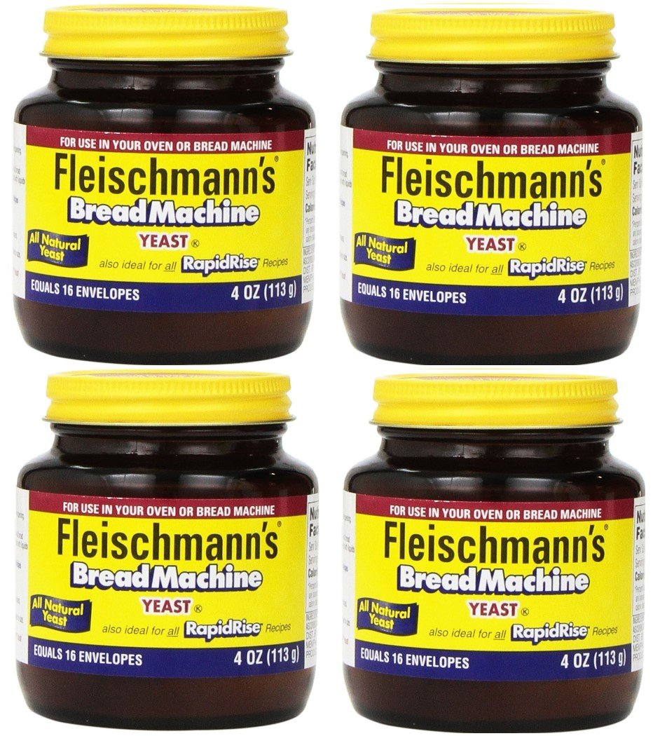 Fleischmann's Yeast for Bread Machines, 4-ounce Jars, (Pack of 4)