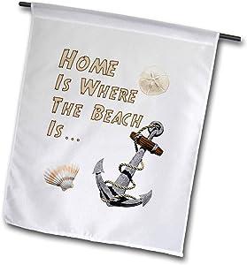 3dRose Macdonald Creative Studios – Coastal - Home is Where The Beach is a Fun Coastal Beach Nautical Themed Design - 12 x 18 inch Garden Flag (fl_299214_1)