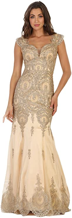 Royal Queen RQ7538 Embroidered Mermaid Prom Formal Gown - Gold -: Amazon.co.uk: Clothing