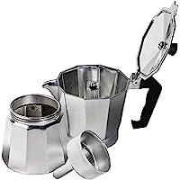Innova Premium STEAM Stovetop Espresso Maker | Italian Moka, Coffee Percolator, Brewing Pot | Octagonal Design, Aluminium Steel, Insulated Handle | Choose Size and Colour (S (1 Cup), Silver)