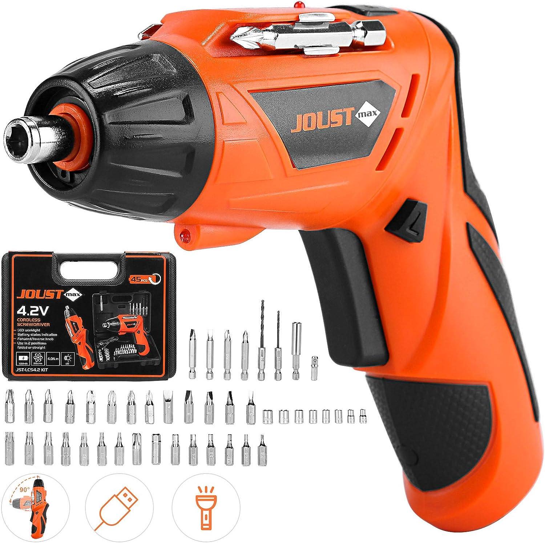 DECMAY Destornillador inalámbrico Destornillador eléctrico, 45 accesorios con mango ajustable, luz LED, carga USB, caja