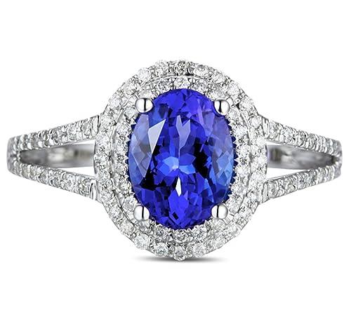Epinki 18k Oro Anillos para Mujer óvalo Anillo Propuesta Matrimonio Anillo de Diamante Azul con Blanco