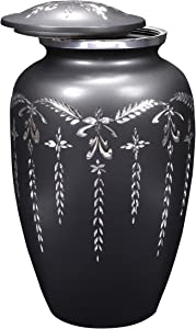 Alpha Living Home Cremation Urn for Ashes - Adult Funeral Urn Handcrafted - Affordable Urn for Ashes - Large Solid Funeral Memorial with Elegant Finish for Cemetery Burial - Slate Gray Diamond Cut
