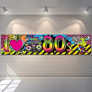 80s Party Decorations I Love 80s Banner, 1980s Hip Hop Sign Backdrop Photo Booth Birthday Party Supplies, 70.8 x 15.7 Inch
