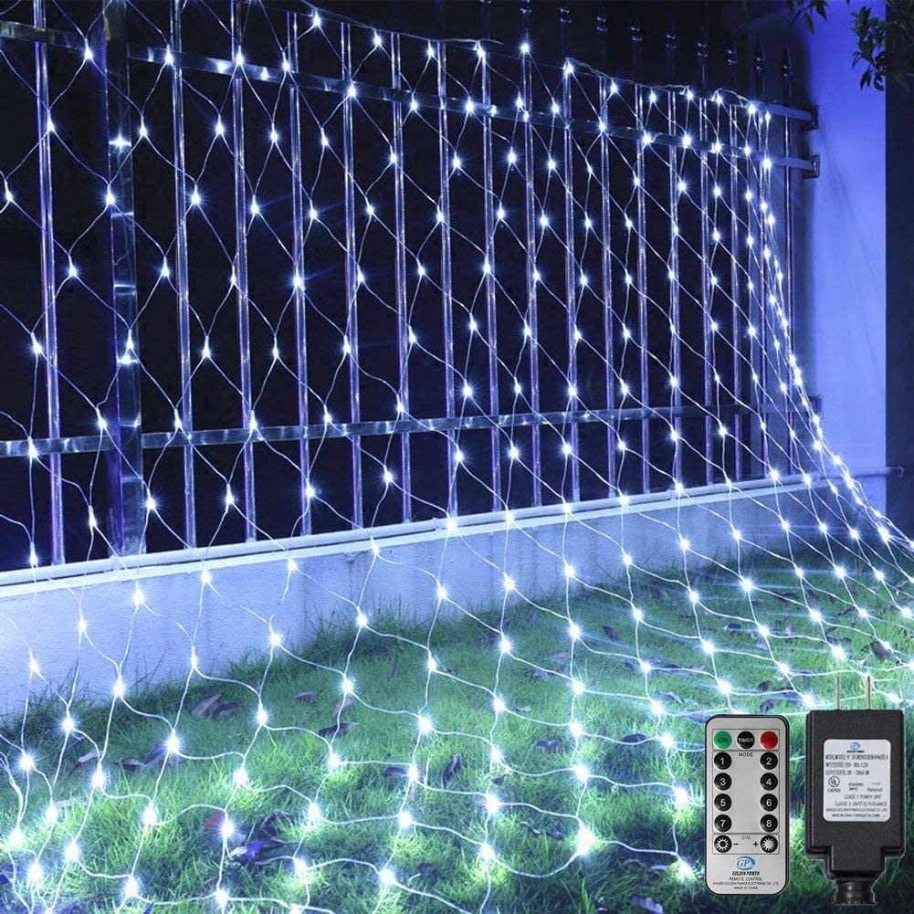 Ollny Net Mesh Lights 200 LED 9.8ft x 6.6ft Cool White String Lights with 8 Modes and Remote Christmas Tree wrap Fairy Light connectable Plug in for Lawn Bushes Outdoor Indoor Wedding Background Decor