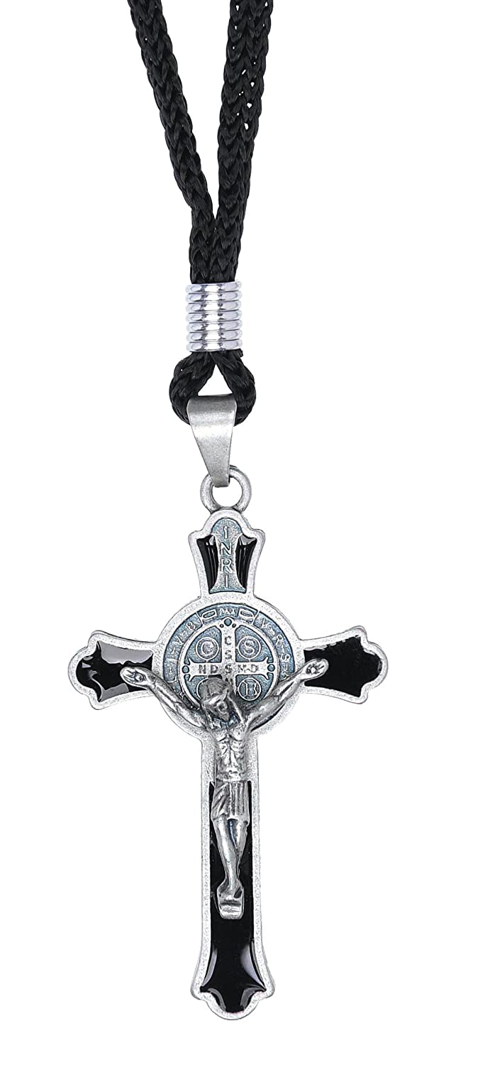 Intercession St Benedict Crucifix on Cord Necklace