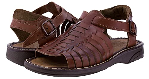 40e890b2ed7c Men s 451 Rustic Cognac All Real Leather Mexican Buckle Huaraches Open Toe 8