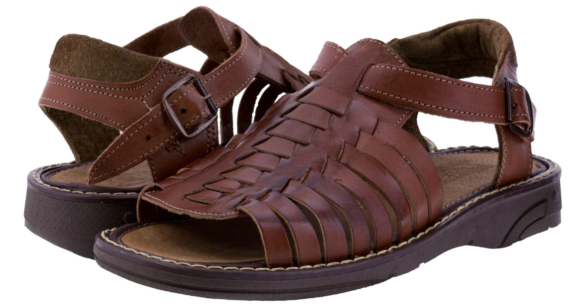 Men's 451 Rustic Cognac All Real Leather Mexican Buckle Huaraches Open Toe 9