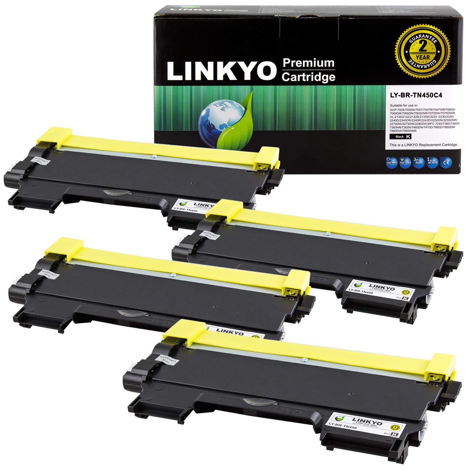 LINKYO Compatible Toner Cartridge Replacement for Brother TN450 TN-450 TN420 (Black, High Yield, 4-Pack) by LINKYO