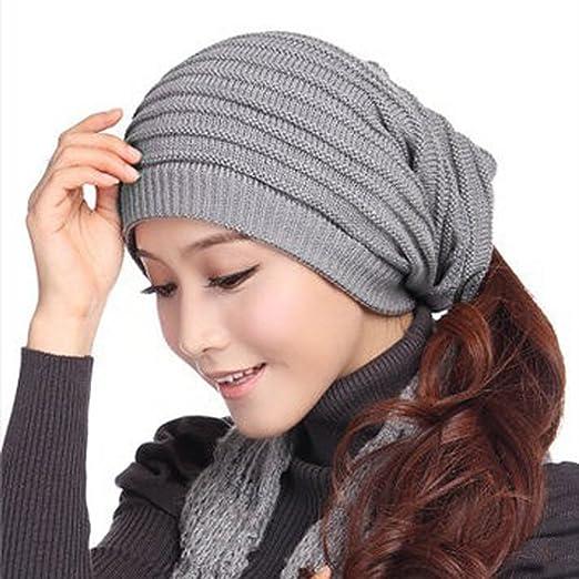 2ae78904f5e New Unisex Knit Baggy Beanie Beret Hat Winter Warm Womens Mens Oversized Ski  Cap (Gray