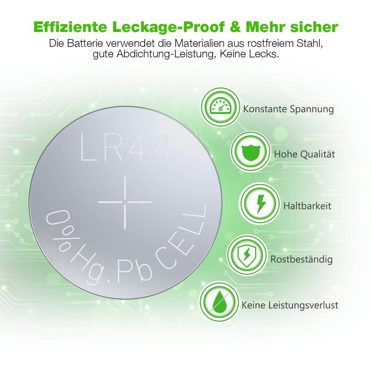 EBL 50 Stück LR44 AG13 G13A A76 L1154 357A Alkaline Knopfzelle Batterie