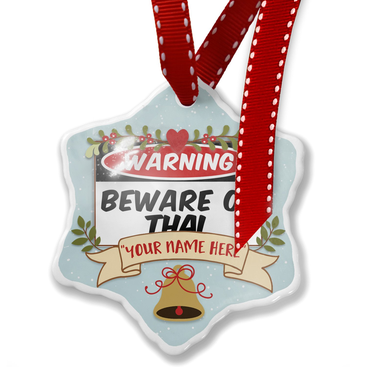 Add Your Own Custom Name, Beware of the Thai Cat from Thailand Christmas Ornament NEONBLOND