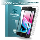 iPhone 7 Plus/iPhone 8 Plus Screen Protector, Klearlook [Original Color Series] [3D Curve Fit] Full Coverage Crystal Clear Premium Tempered Glass Screen Protector with [3D Hot Bending Technology][Full Coverage Without Any Gap][High Definition][9H Hardness] + [Full Coverage] Carbon Fibre Back Sticker Protector【Updated Back Protector】 for Apple iPhone 7 Plus/iPhone 8 Plus [Full Coverage Tempered Glass for front+ Full Coverage Carbon Fibre for Back] Lifetime Warranty [Black]