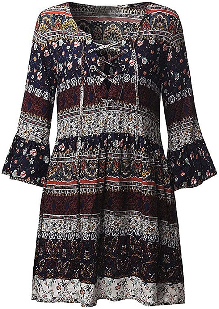 Ruhiku GW Women Bohemian Vintage Printed Ethnic Style Summer Shift Dress