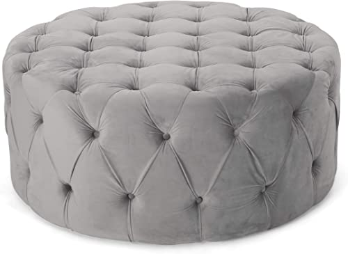 Christopher Knight Home Sabina Round Tufted Velvet Ottoman
