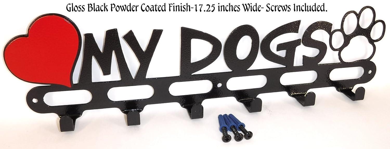 Dog Leash Holder Hook Hanger. I Love My Dogs. Gloss Black. Handmade in USA.