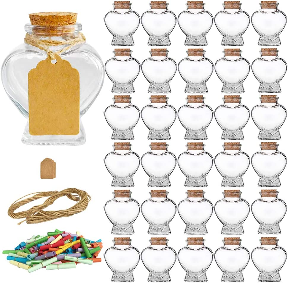 Folinstall 30 Pieces Heart Shaped Small Glass jars with Cork Lids, Glass Favor Jars for Wedding Decoration, DIY, Home, Party Favors, Extra Coloured Paper Scrolls and Personalized Tag Strings Included