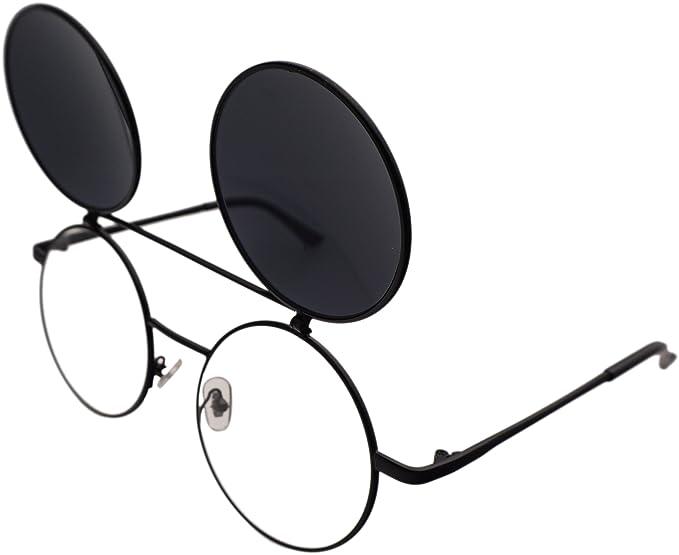 617ad2b9199 J L Glasses Retro Flip-Up Round Goggles Seampunk Sunglasses (Black ...