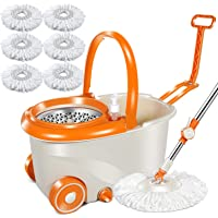 6.4L Orange 360 Magic Microfiber Spin Mop with 6 Pcs Microfiber Mop Heads with Stainless Steel Bucket On for Floor