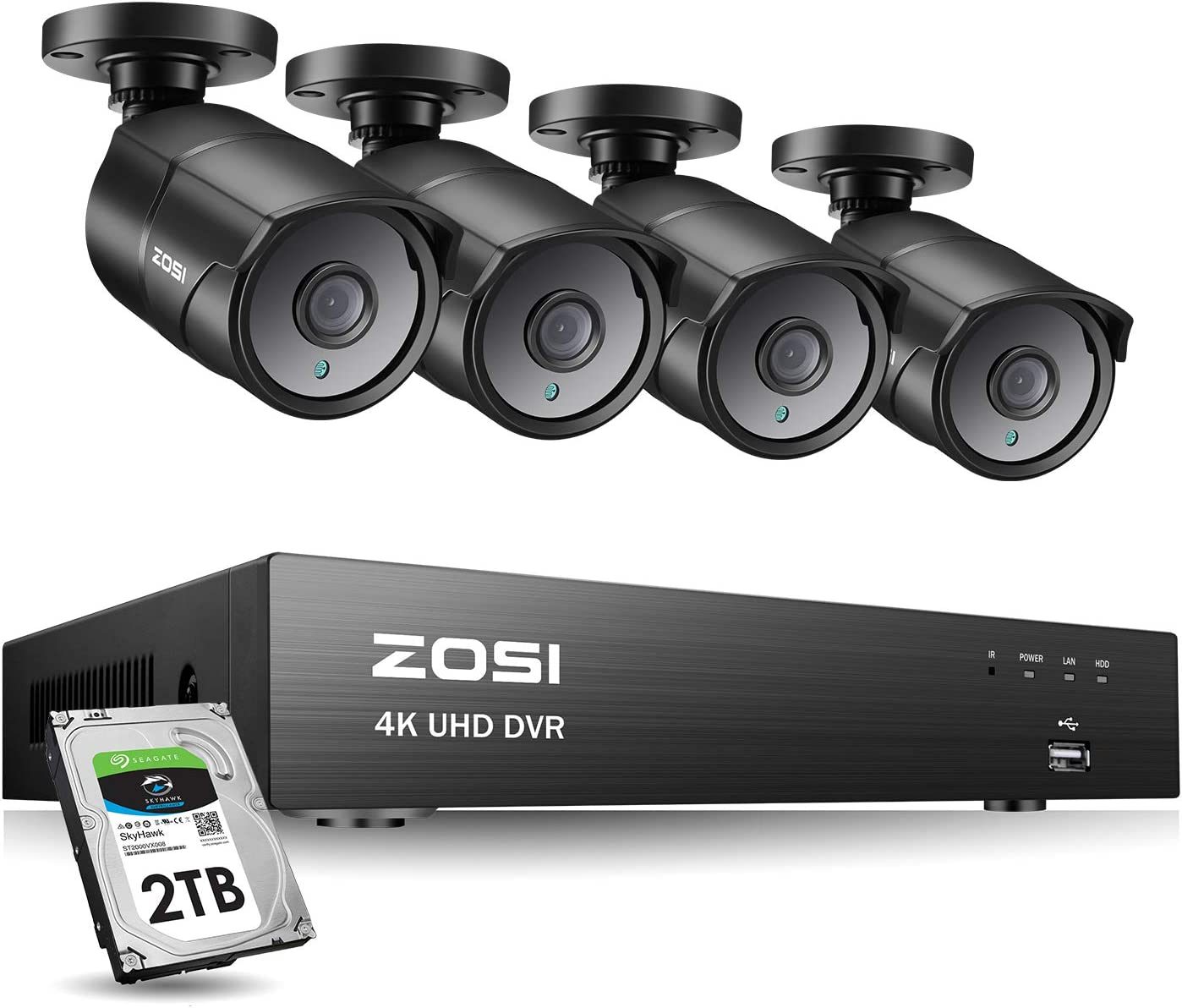 ZOSI Ultra HD 4K Outdoor Security Camera System, 8 Channel H.265 CCTV DVR with 4 x 4K 8MP Bullet Camera Kit Weatherproof, 100ft Night Vision, 2TB Hard Drive, Remote Access