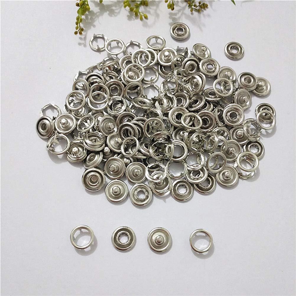 Yardwe 100pcs Botones de aro de Metal Ojales Kit de Sujetadores a presión Pernos prisioneros Botones de aro Anillos (11mm): Amazon.es: Hogar