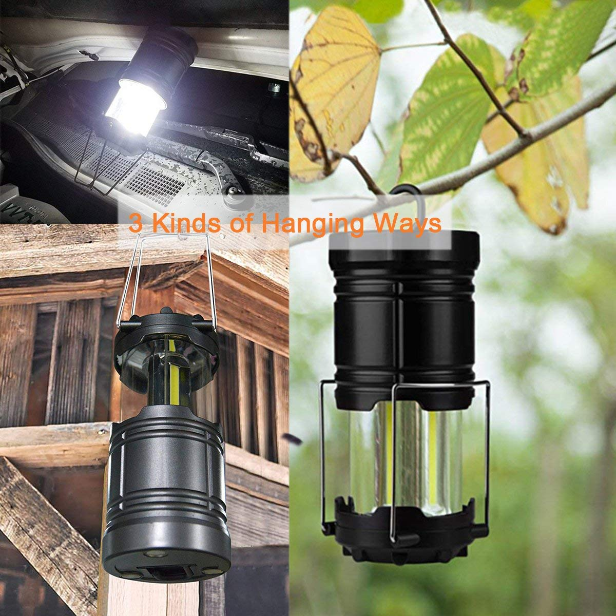 Amurgo LED Camping Lantern Flashlights Portable Lamp Waterproof Tent Light Survival Kit with Magnet Hook for Emergency Hurricane Outage (Collapsible) Outdoor Home (Pckage of 1)