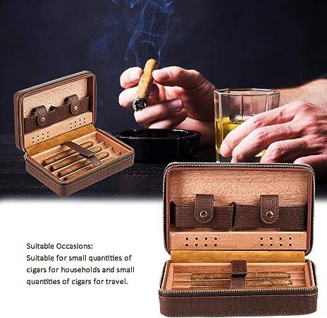 AIMERKUP Cigarro Humidor De Viaje, Humidor De Puros Portátil Estuche De Cigarros con Capacidad para 4 Cigarros Madera De Cedro 21X13X7cm Typical: Amazon.es: Hogar