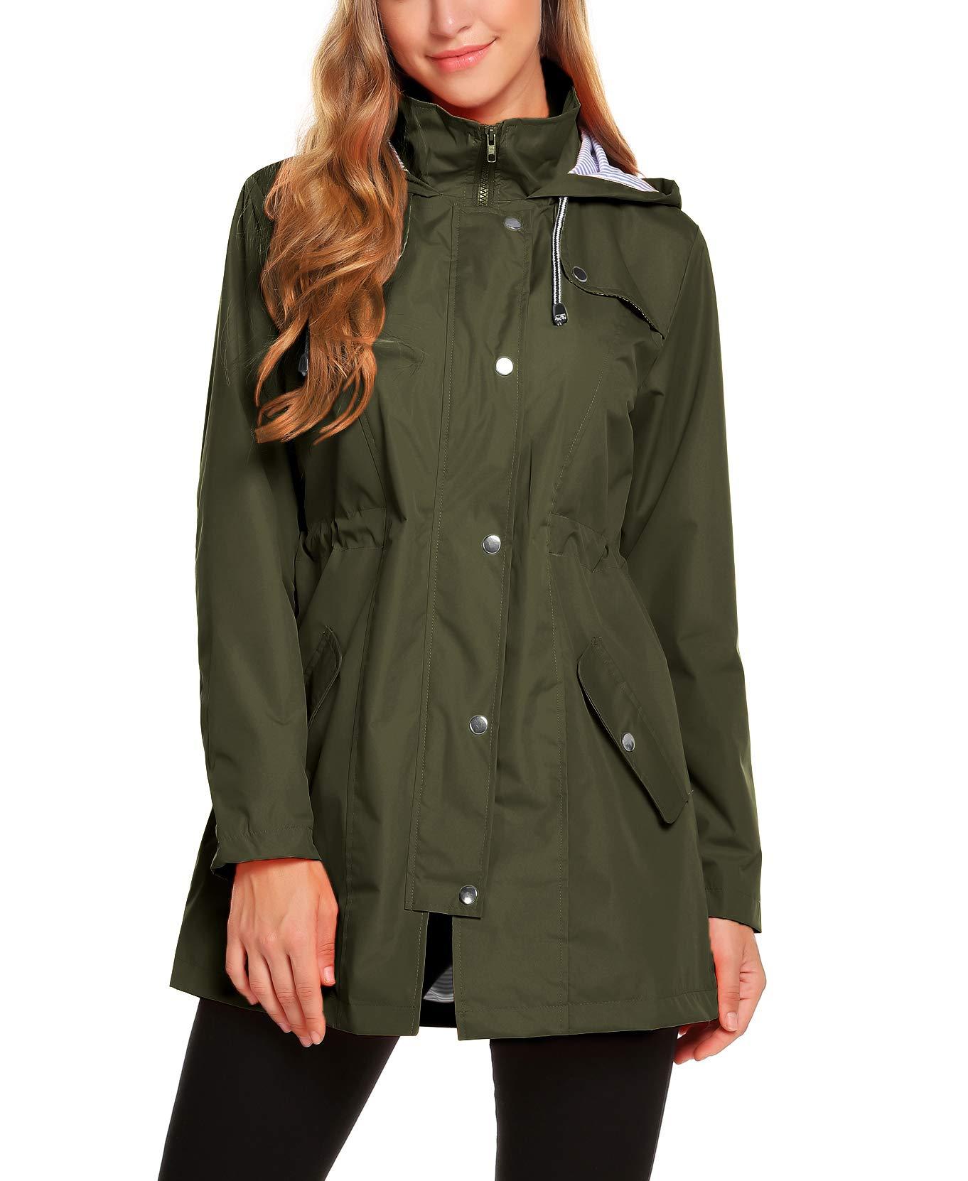ZHENWEI Womens Lightweight Hooded Waterproof Active Outdoor Rain Jacket Army Green M by ZHENWEI