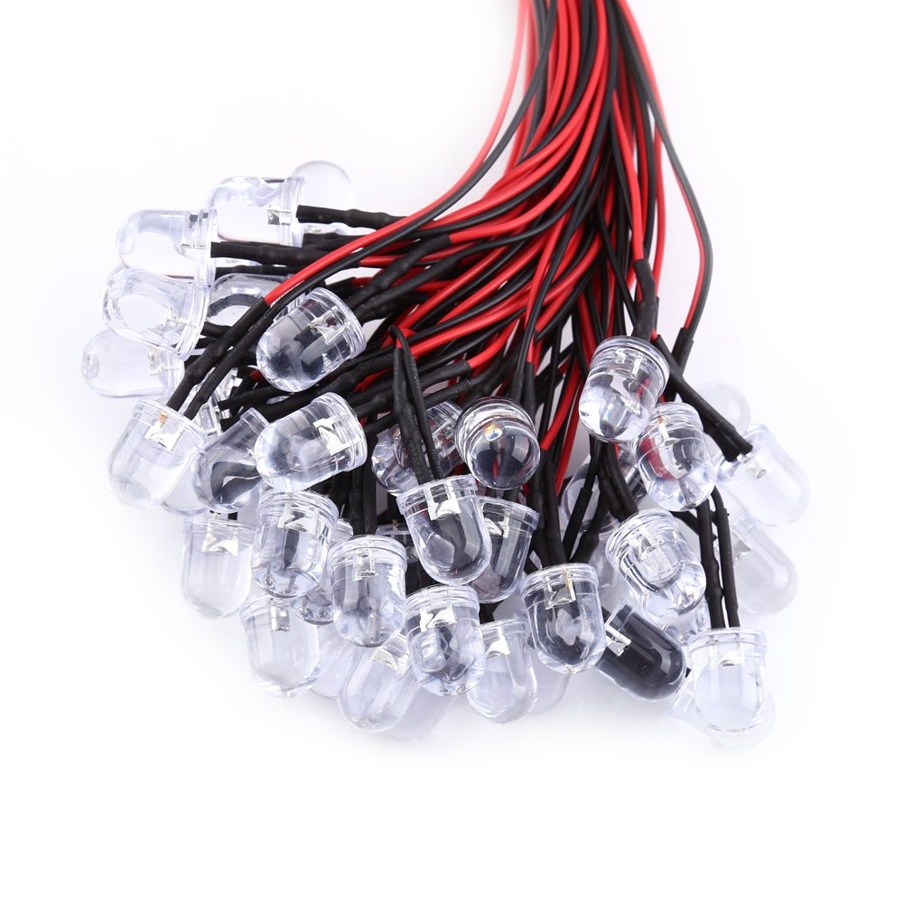 Ultra Bright Pre Wired diode DC 9-12V Water Clear LED Diodes White Red Blue Green Light 50pcs 3mm-3mm