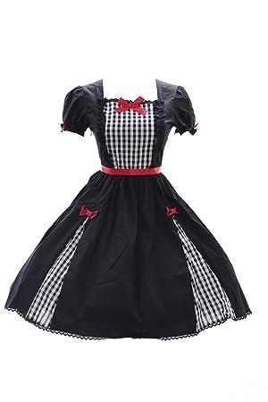 Kawaii-Story JL de 626 Cuadros Negro Vestido Stretch Classic Gothic Lolita Disfraz Dress Cosplay