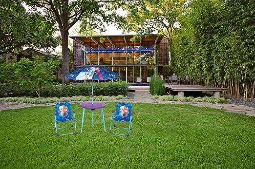 Disney congelado Anna, Elsa y Olaf de jardín patio set: 1 x mesa redonda, 1 x sombrilla, 2 x sillas: Amazon.es: Jardín