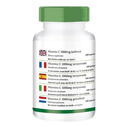 Vitamina C 1000mg - Bote para 400 días - VEGANO - Alta dosificación - 400 cápsulas - el estómago - ascorbato de calcio: Amazon.es: Salud y cuidado personal