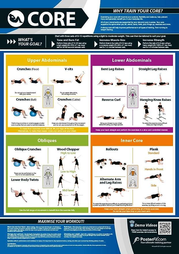 Ejercicio básico   Entrenamiento de núcleo completo   Mejora el entrenamiento de fuerza   Póster laminado de gimnasio y hogar   Incluye soporte de ...