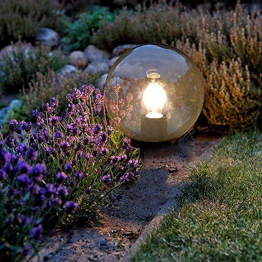 Lámpara esférica de color ahumado, bola de 20 cm, lámpara de jardín, incluye bombilla LED, iluminación exterior con cable, lámpara de terraza redonda: Amazon.es: Iluminación