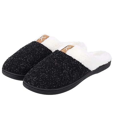 ZriEy Men's Comfort Slip On Memory Foam Slippers Wool-Like Plush Fleece Lined House Shoes Indoor Outdoor Anti-Skid Rubber Sole Flats | Slippers