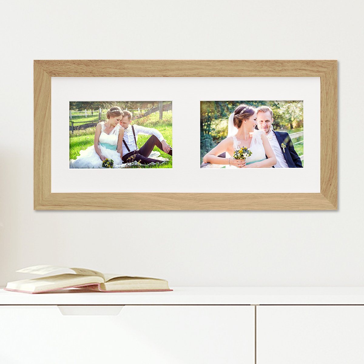 PHOTOLINI Fotocollage-Bilderrahmen Modern Eiche aus Massivholz ...