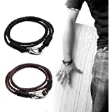 Zhenhui Men's Braided 21cm Black Brown Leather 4-Strand Bracelets with Locking Stainless Steel Lobster Clasp