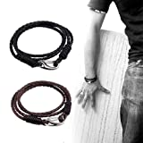 Braided Leather Bracelet Set - Black Brown Genuine Leather Wrap Bangle for Men Women Kids With 2 Vintage 4-Strand Wrist Bracelets 1 Free Box Stainless Steel Lobster Clasp Durable