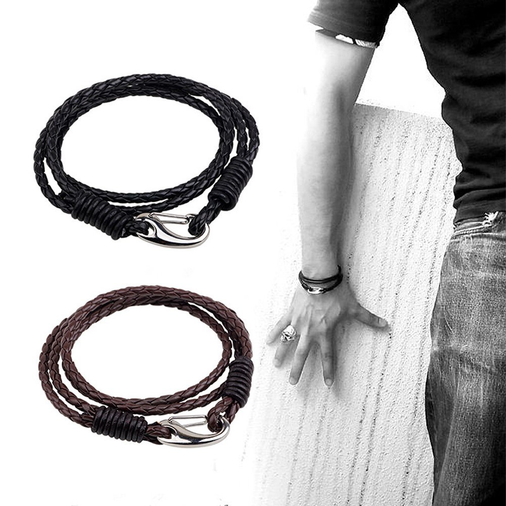Braided Leather Bracelet Set - Black Brown Leather Wrap Bangle for Men Women Kids With 2 Vintage 4-Strand Rope Wrist Bracelets with Stainless Steel Lobster Clasp Durable(2 Pcs)
