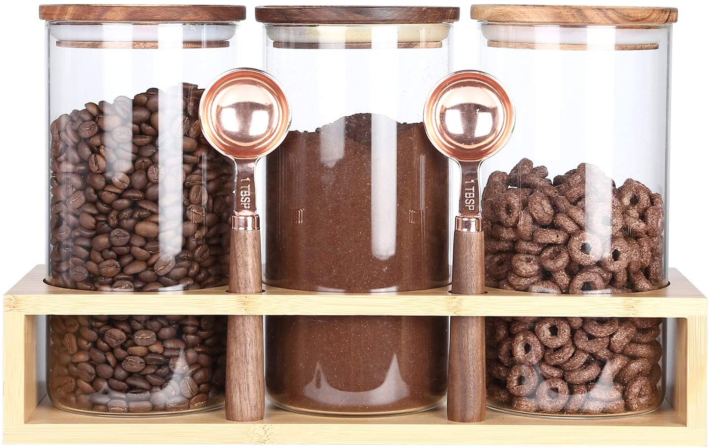 KKC Borosilicate Glass Canisters for Kitchen Counter,Glass Storage Jars with Spoons ,Airtight Countertop Glass Storage Containers with Wood Lids for Coffee Beans,Cookie,39 FLoz,Pack of 3