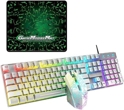 Sheuiossry T6RGB - Juego de teclado y ratón luminosos con ...
