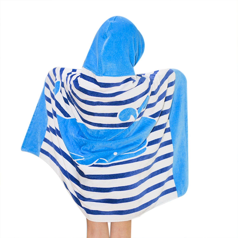Kids Hooded Bath/Beach Towel Girls Boys Cute Cartoon Animal Full Vitality,100% Cotton (Blue whale)